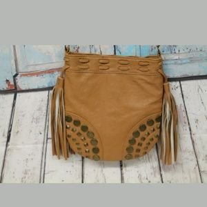 Brash Tan Vinyl Studded Tassel Crossbody Purse